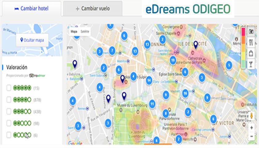 eDreams introduz mapa na página das reservas