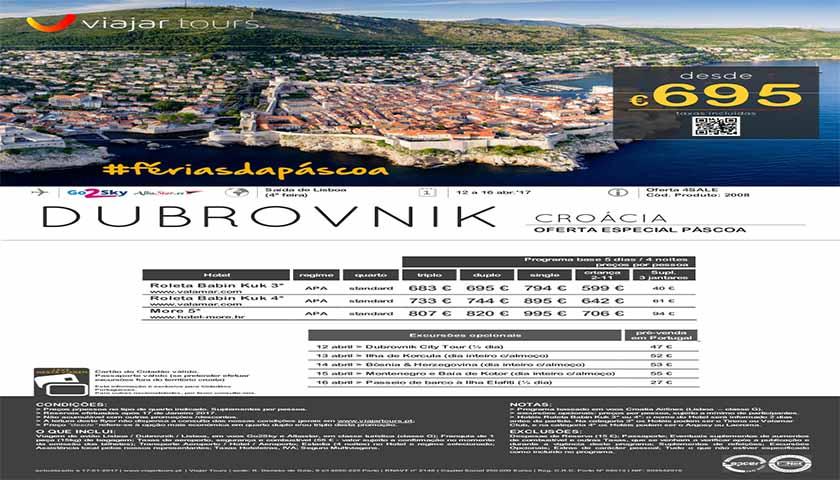 Viajar Tours oferece Dubrovnik na Páscoa