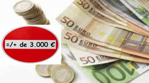 Estão proibidos pagamentos acima de três mil euros em dinheiro