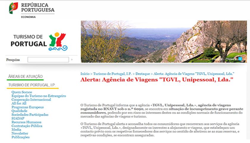 Mafra: Agência de viagens TGVL em situação de incumprimento grave.