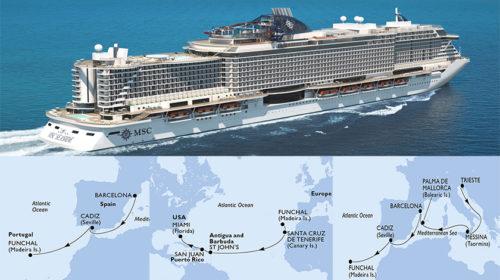 Viagem inaugural do MSC Seaside com desembarque ou embarque no Funchal
