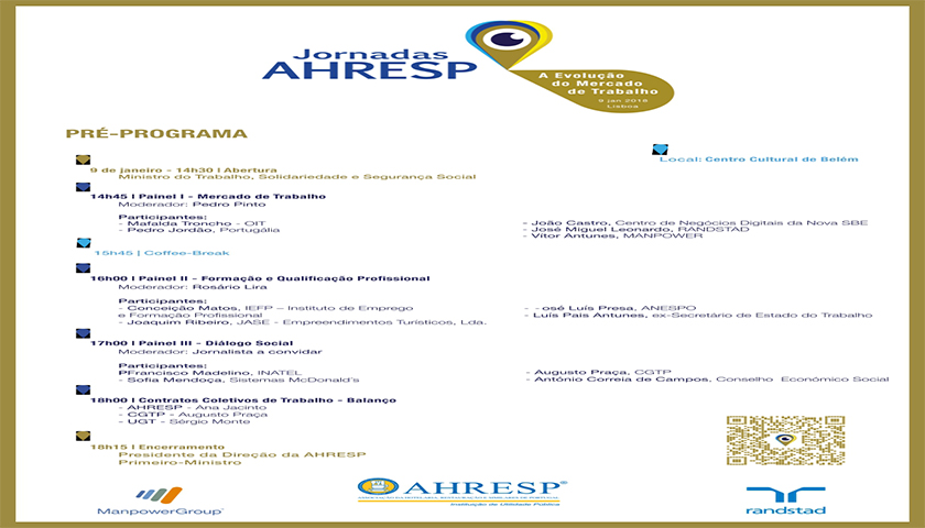 Jornadas da AHRESP dia 9 no Centro Cultural de Belém